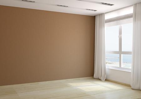 cortinas: Interior de la sala vacía. 3d. Foto detrás de la ventana fue hecha por mí. Foto de archivo