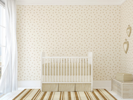 kids room: Interior of nursery with vintage crib. 3d render. Photo behind the window was made by me.