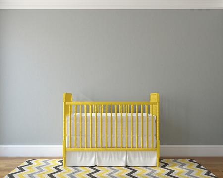 vivero: Interior del cuarto de ni�os con cuna amarilla de la vendimia. 3d.