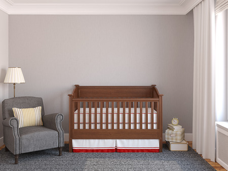 Interior of nursery with crib near gray wall. Frontal view. 3d render.