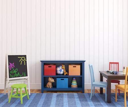 storage: Colorful playroom interior. 3d render.