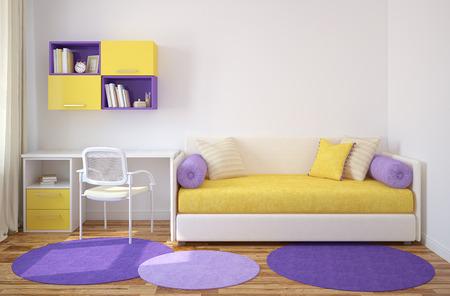 playroom: Colorful interior of playroom. 3d render.