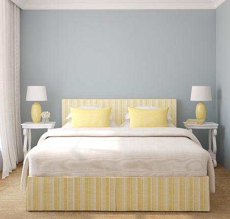 render residence: Interior of modern bedroom. 3d render. Stock Photo