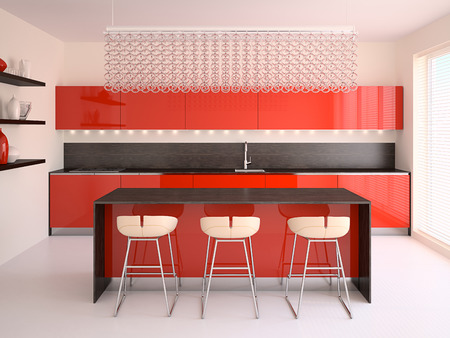 red kitchen: Interior of modern red kitchen. 3d render.