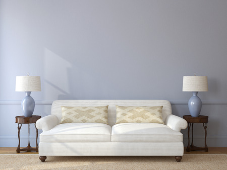 Classic living-room interior with white couch near empty gray wall. 3d render.