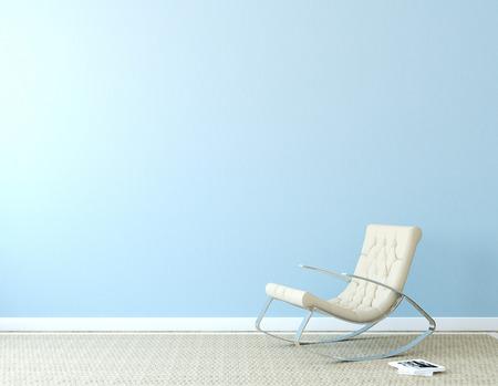 水色の壁に近いベージュの肘掛け椅子とモダンなインテリア。本の表紙の写真は、私が作られました。