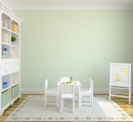 photoshop: Colorful playroom interior. 3d render. Pictures in frames was painted by me in photoshop. Stock Photo