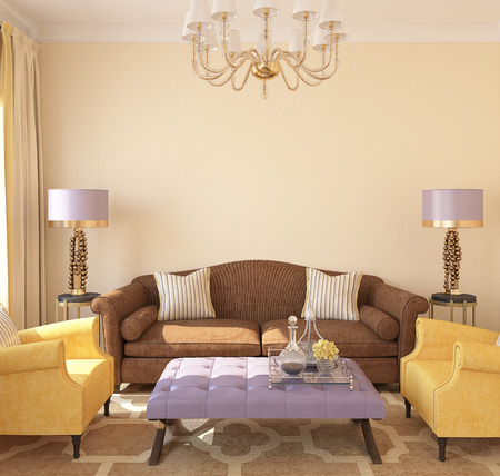 room decoration: Modern living-room interior. 3d render.