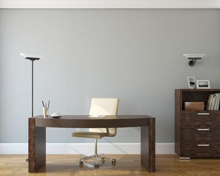 a study: Modern office interior.3d render. Stock Photo
