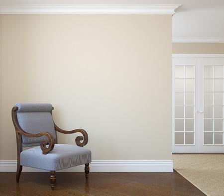 foyer: Hallway with armchair near empty beige wall. 3d render. Stock Photo