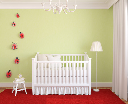 frontal: Colorful interior of nursery. Frontal view. 3d render. Stock Photo