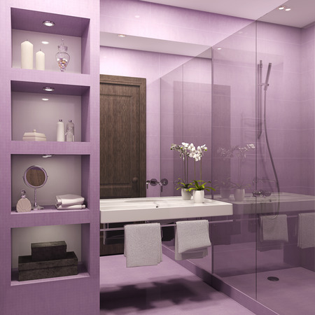 bathroom sink: Modern bathroom interior. 3d render.