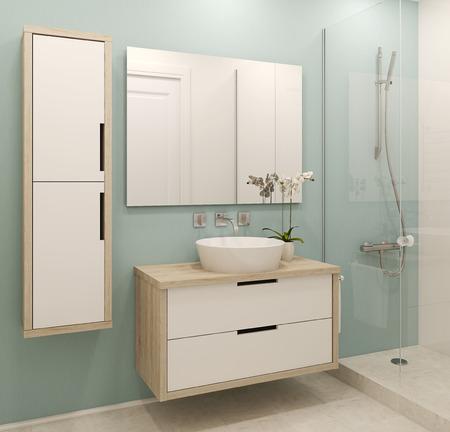 Interior moderno do banheiro. 3d rendem.