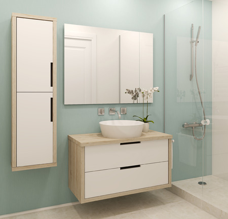 on mirrors: Modern bathroom interior. 3d render.