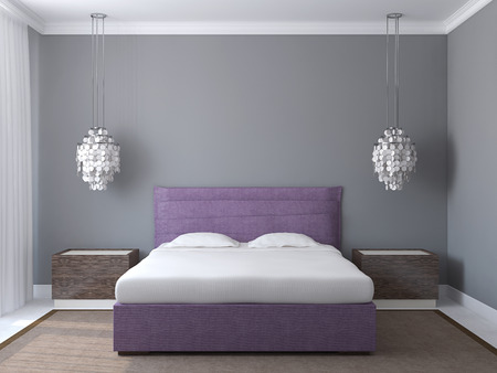 Modern bedroom interior with gray walls and violet king-size bed. 3d render. Banque d'images