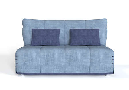 comfort room: Modern blue sofa on white background.