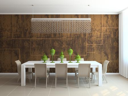 diningroom: Interior of  modern dining-room. 3d  render.