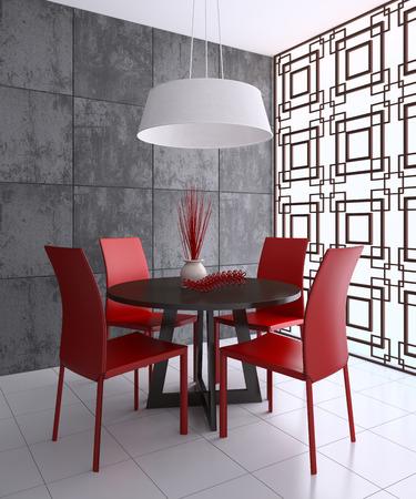 diningroom: Modern dining-room interior. 3d render. Stock Photo