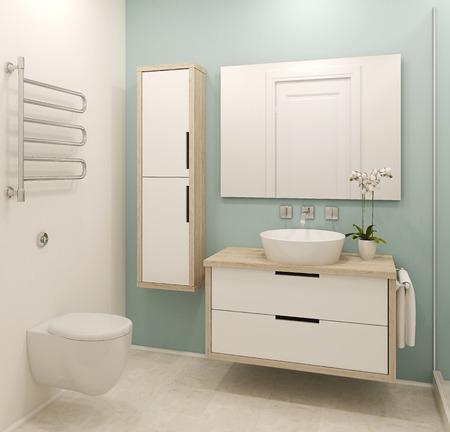 Intérieur de salle de bains moderne. 3d render.