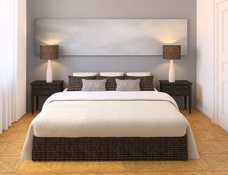 interior decorating: Modern bedroom interior. 3d render.