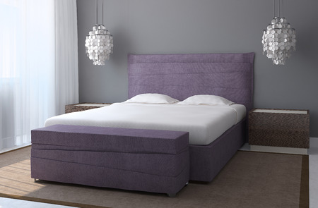 kingsize: Modern bedroom interior with gray walls and violet king-size bed. 3d render. Stock Photo
