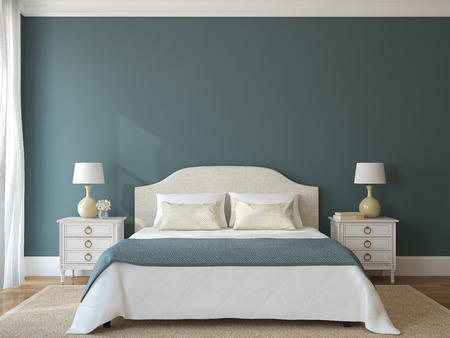寝室のインテリア。プロヴァンス。3 d のレンダリング。