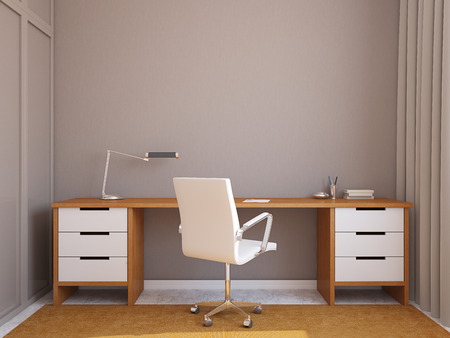 wood furniture: Modern home office interior. 3d render