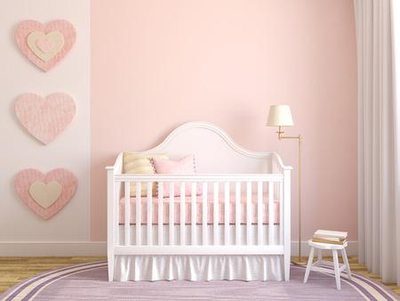 嬰兒: 苗圃色彩繽紛的內飾。正面視圖。三維渲染。