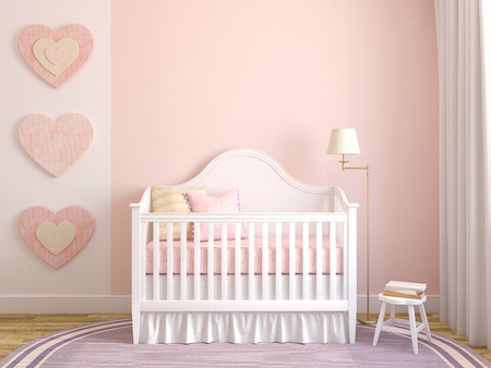 room decoration: Colorful interior of nursery. Frontal view. 3d render. Stock Photo
