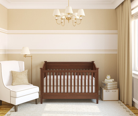 Interior of nursery. Frontal view. 3d render.