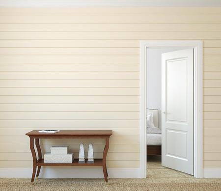 modern bedroom: Modern hallway with open door. 3d render.