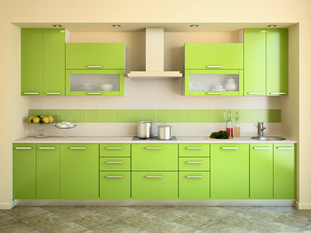 case moderne: Cucina moderna interni verde. Rendering 3D.