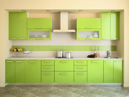 estufa: Interior de la cocina verde moderna. 3d. Foto de archivo