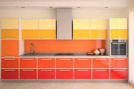 kitchen modern: Modern kitchen interior. 3d render.