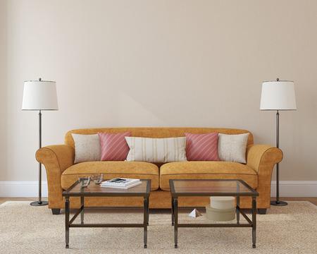 cổ điển: nội thất phòng khách hiện đại với ghế da cam gần bức tường màu be trống. 3d render. Hình ảnh trên bìa cuốn sách đã được thực hiện bởi tôi.