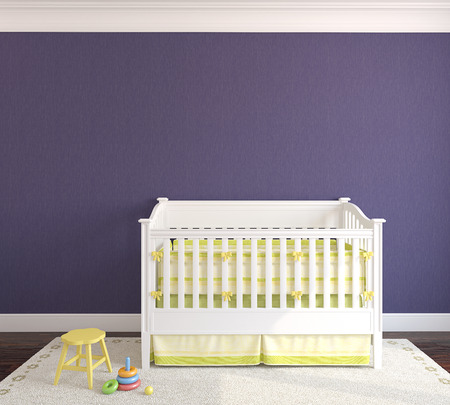 crib: Cute interior of nursery with crib. Frontal view. 3d render.