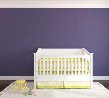 nursery: Lindo interior del cuarto de niños con cuna. Vista frontal. 3d.