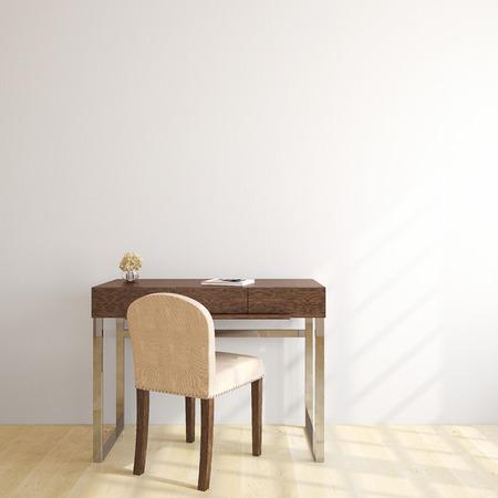 silla de madera: interior de la oficina a casa. 3d. Foto de portada del libro fue hecha por mí.