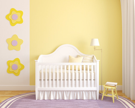 crib: Colorful interior of nursery. Frontal view. 3d render. Stock Photo