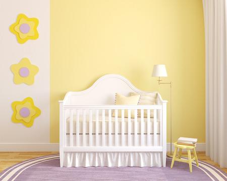 Kleurrijke interieur van kinderdagverblijf. Vooraanzicht. 3d render. Stockfoto
