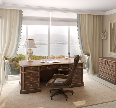 interior home: Classical interior of home office. 3d render. Photo behind the window was made by me.