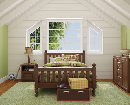 garret: Interior of boys room. 3d render. Photo behind the window was made by me.