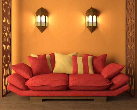 light house: 3d rendering of the interior in Moroccos style