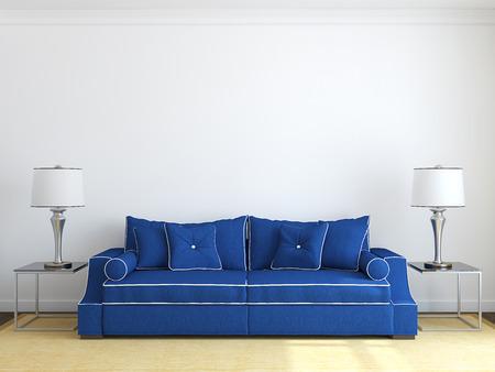 Moderne woonkamer interieur met blauwe bank in de buurt van witte muur. Vooraanzicht. 3d render.
