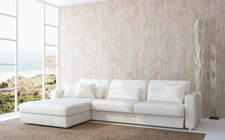 asiento: Interior moderno de la sala de estar con sofá blanco cerca de la pared de color beige vacía. Foto detrás de la ventana fue hecha por mí.