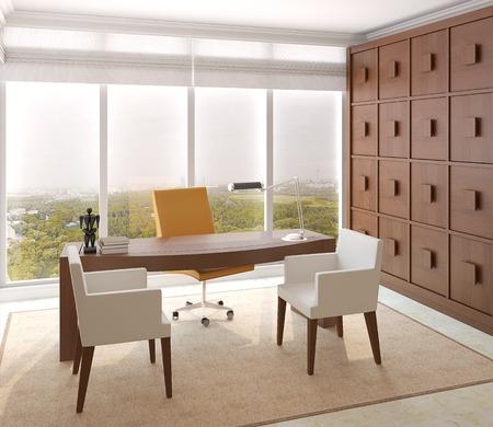 silla de madera: Interior moderno de la oficina en casa. 3d.