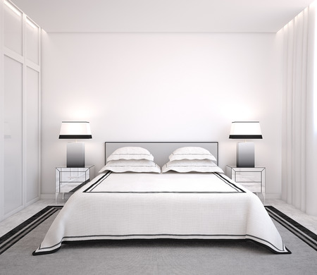 Intérieur de la chambre moderne. Vue frontale. 3d render. Banque d'images - 43148534