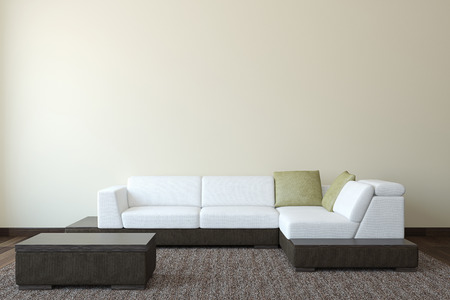 couch: Interior with modern couch near empty wall. 3d render. Stock Photo