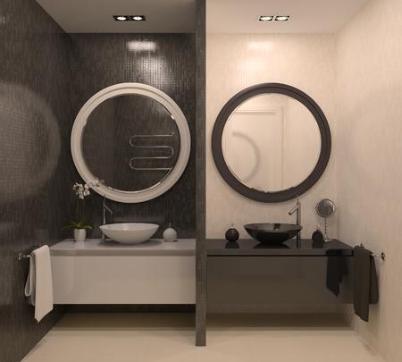double sink: Modern bathroom interior. 3d render.