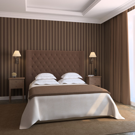 bed room: Modern bedroom interior. 3d render.